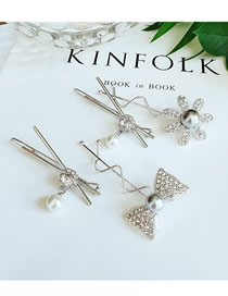 Fashion Combination Alloy Flower Drop Pearl Hairpin Combination
