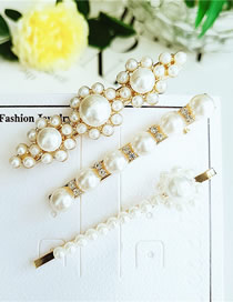 Fashion White Pearl Hair Clip Three-piece