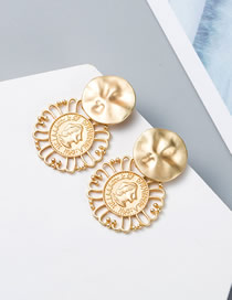 Fashion Gold S925 Silver Needle Relief Man Head Metal Hollow Earrings