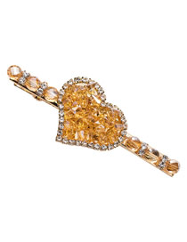 Fashion Yellow Crystal Full Diamond Love Hairpin
