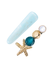Fashion Blue Alloy Starfish Shell Acetate Plate Hairpin Two-piece