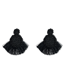 Fashion Black Multi-layer Round Rice Beads Tassel Earrings