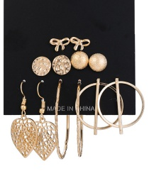 Fashion Gold Bow Sequined Leaf Earrings Set