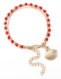 Fashion Red Shell Beaded Crystal Bracelet