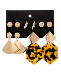 Fashion Gold Metal Geometric Polygonal Leopard Acrylic Stud Earring Set