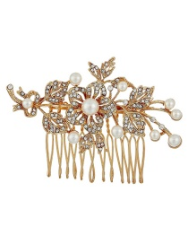 Fashion Gold Diamond Flower Comb