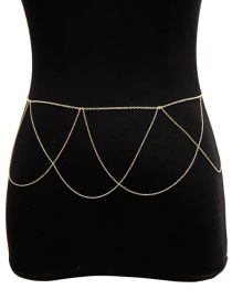 Fashion Gold Geometric Chain Tassel Waist Chain