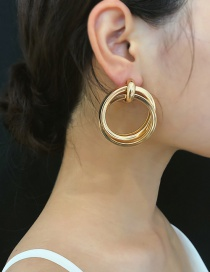 Fashion Gold Double Spiral Geometric Round Earrings