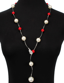 Fashion Red Diamond-like Pearl Necklace