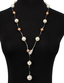 Fashion Brown Diamond-like Pearl Necklace