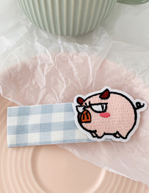 Fashion Blue Plaid - Piglet Cartoon Embroidered Fabric Hair Clip