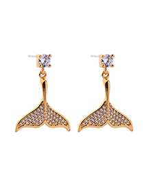 Fashion Gold S925 Silver Needle Mermaid Earrings