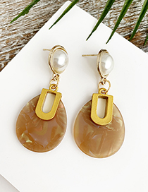 Fashion Coffee Color Alloy Resin Oval Earrings