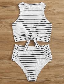 Fashion White Stripe Printed High Waist Split Swimsuit