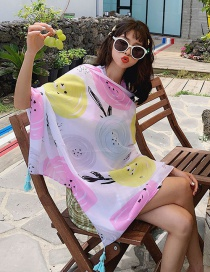 Fashion Color Circle On White Oversized Sunscreen Shawl