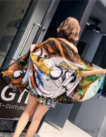Fashion Color Flower Printed Cotton And Linen Scarf Shawl