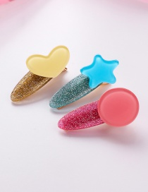 Fashion Yellow Red Blue Colorful Love Stars Round Hair Clips Three-piece
