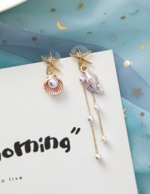 Fashion Red 925 Silver Needle Starfish Shell Conch Fringe Asymmetric Earrings