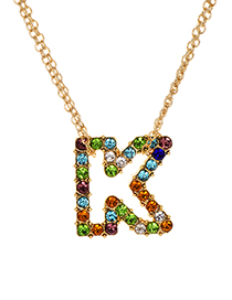 Fashion Letter K Alloy Diamond Alphabet Necklace