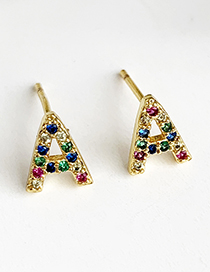 Fashion A Gold Copper Inlaid Zircon Letters