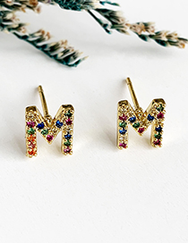 Fashion M Gold Copper Inlaid Zircon Letters