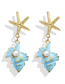 Fashion Blue Starfish Inlaid Pearl Earrings
