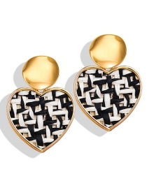 Fashion Heart Black And White Sequined Straw Round Heart Earrings