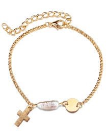 Fashion Gold Sequined Cross Freshwater Pearl Bracelet