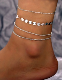 Fashion Silver Sequined Bamboo Chain Anklet Four-piece