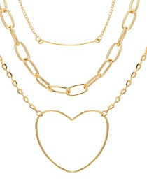 Fashion Gold Love Chain Three-layer Necklace