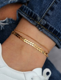 Fashion Gold Aircraft Chain 2 Layer Anklet Set