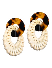 Fashion White Openwork Acrylic Wooden Woven Earrings
