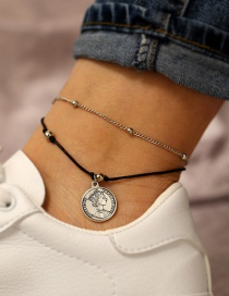 Fashion Silver Human Head Seal 2 Layer Anklet Set