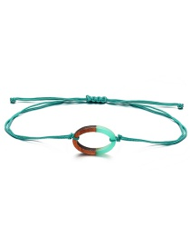 Fashion Number 0 Green Braided Wood Push-pull Bracelet