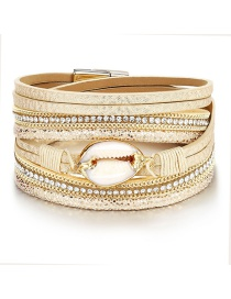 Fashion White Natural Shell Magnetic Buckle Faux Leather Bracelet