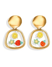 Fashion Pear-shaped Gold Epoxy Fruit Geometric Earrings