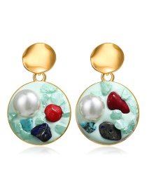 Fashion Green Inlaid Pearl Stone Round Earrings