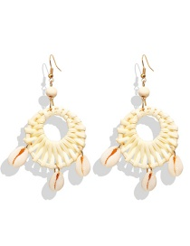 Fashion Beige Wood Rattan Woven Shell Earrings