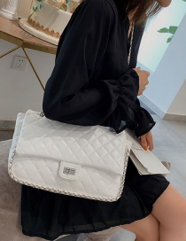 Fashion White Chain Rhombic Shoulder Messenger Bag