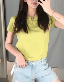 Fashion Green Solid Glossy T-shirt