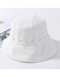 Fashion White Embroidered Letter Cap