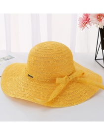 Fashion Mango Yellow Daxie Covered Iron Letters Double-layer Lace Fisherman Hat