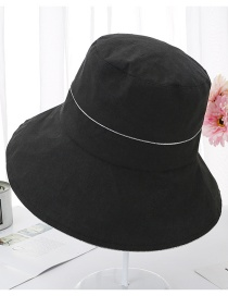 Fashion Black Silver Silk Edging Solid Color Fisherman Hat