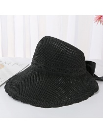 Fashion Black Bow Knit Empty Top Visor