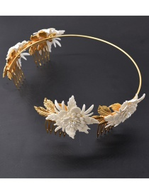 Fashion White Alloy Flower Headband
