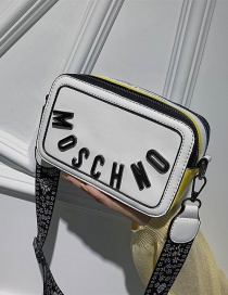 Fashion White Alloy Letter Pu Single Shoulder Messenger Bag