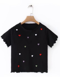 Fashion Black Heart Embroidered Short Sleeve Top