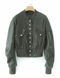Fashion Armygreen Button Pleated Jacket
