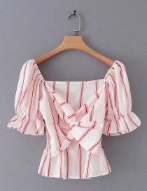 Fashion White Striped Knotted Short-sleeved Top