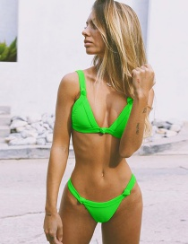 Fashion Fluorescent Green Bring A Chest Pad To Gather A Big Sister Split Swimsuit